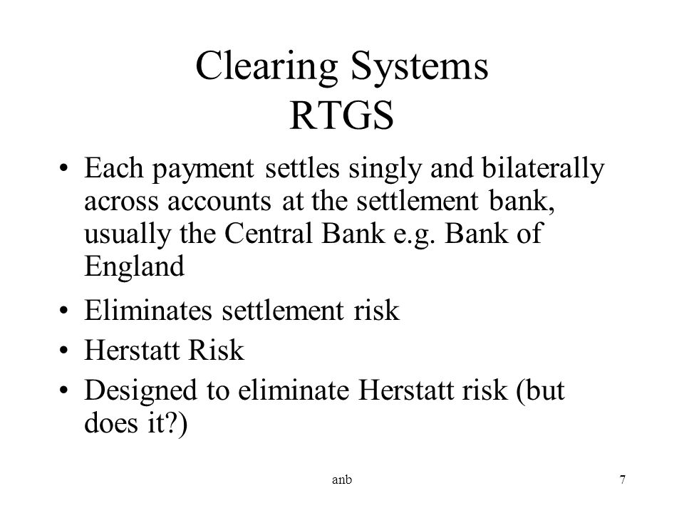 Clearing Systems RTGS