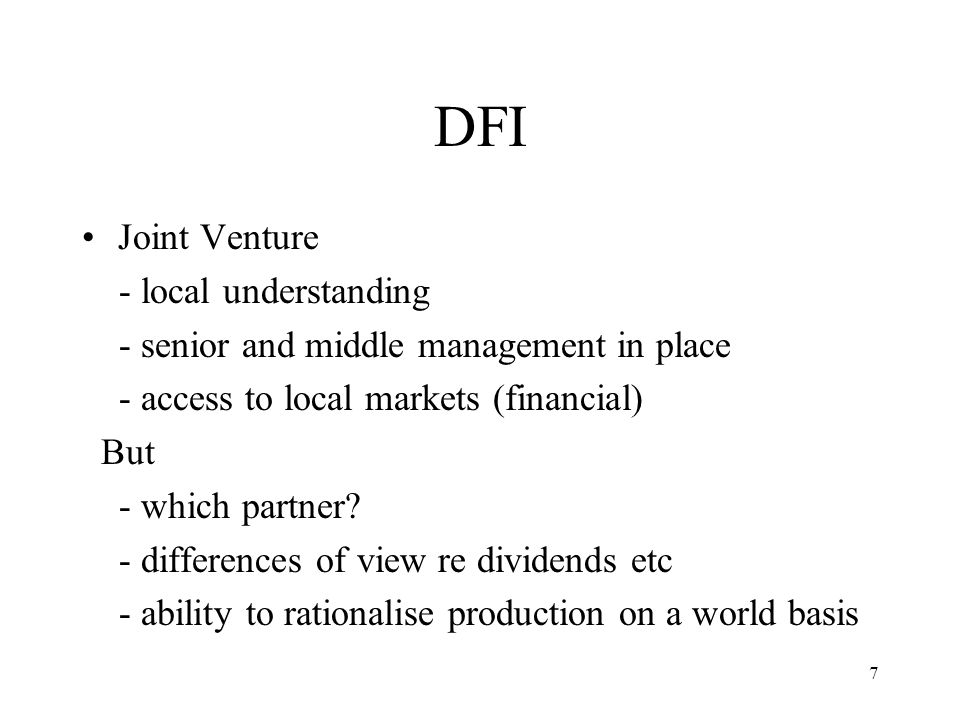 DFI Joint Venture - local understanding