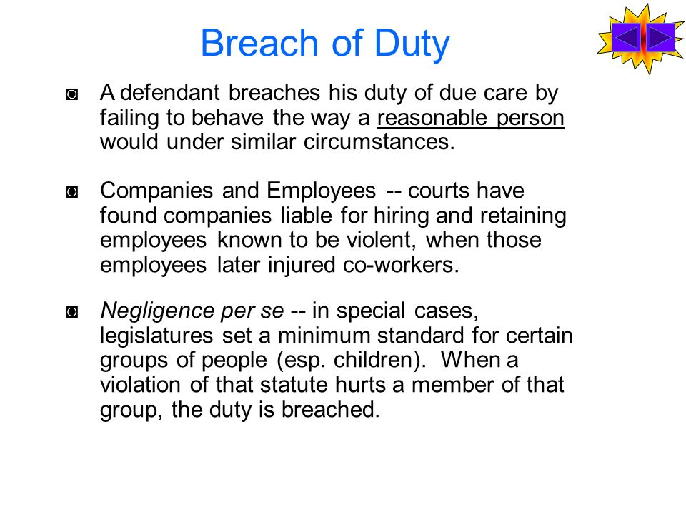 breach of duty essay questions Essay about duty of care and breachstep to establish negligence is to decide whether the defendant owe a duty of care to the plaintiff the defendant is obliged to take reasonable care to its neighbor.