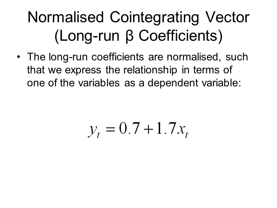 Normalised Cointegrating Vector (Long-run β Coefficients)