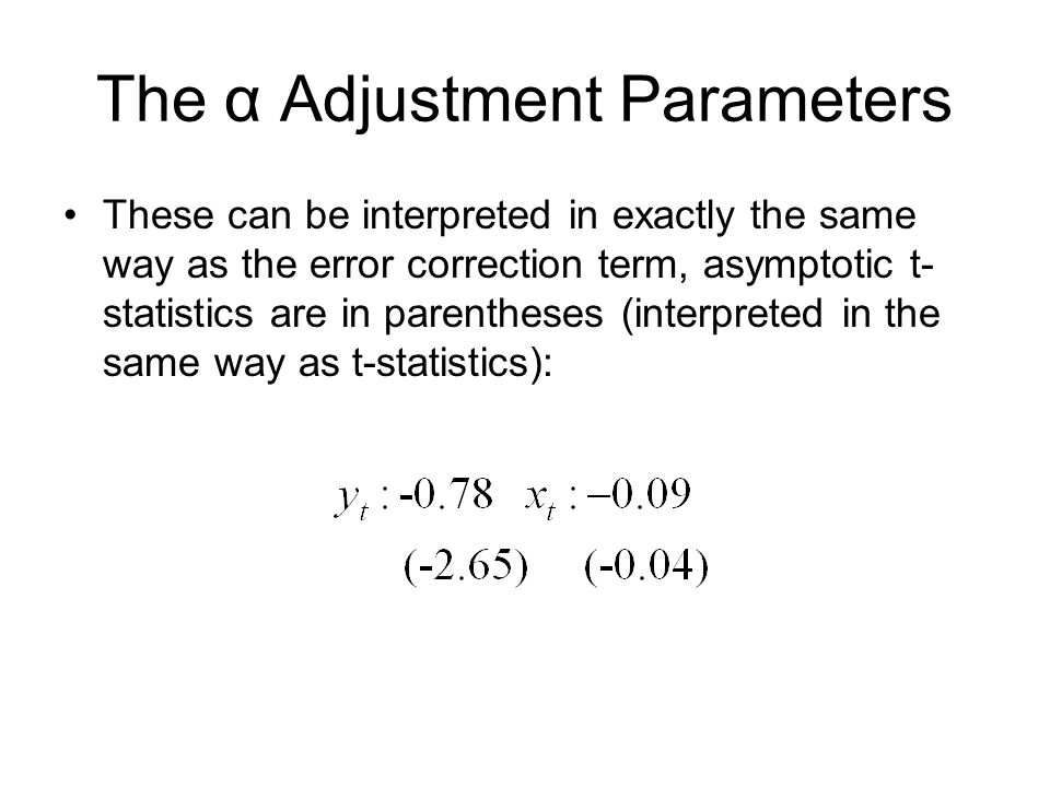 The α Adjustment Parameters