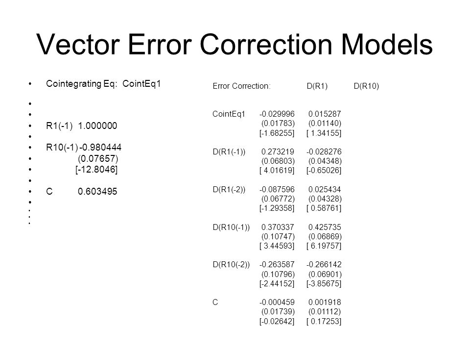 Vector Error Correction Models