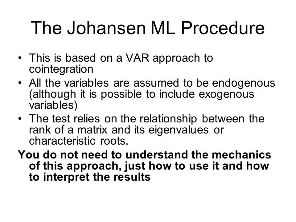 The Johansen ML Procedure