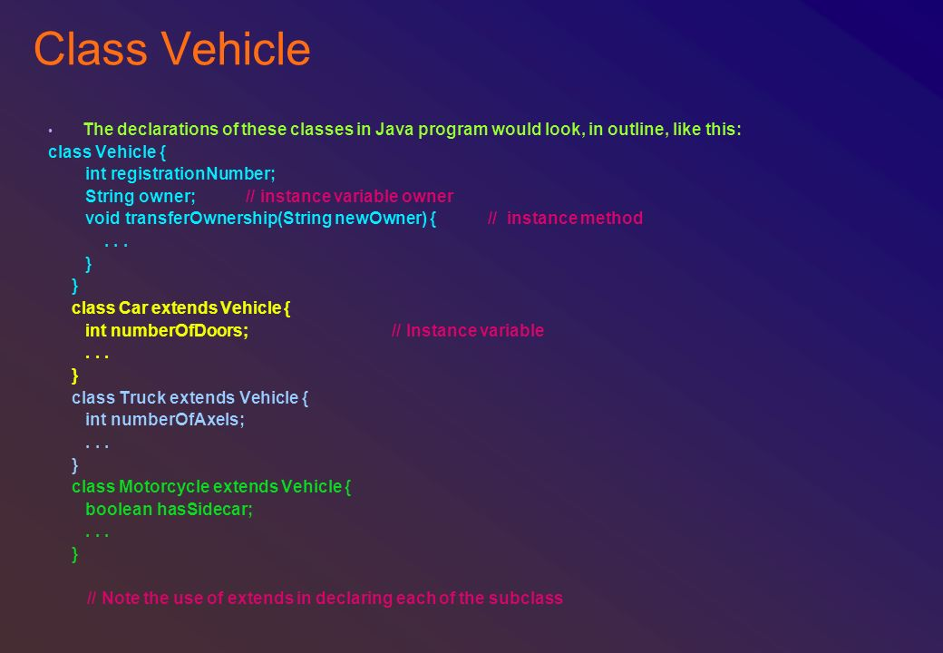 Class Vehicle The declarations of these classes in Java program would look, in outline, like this: class Vehicle {