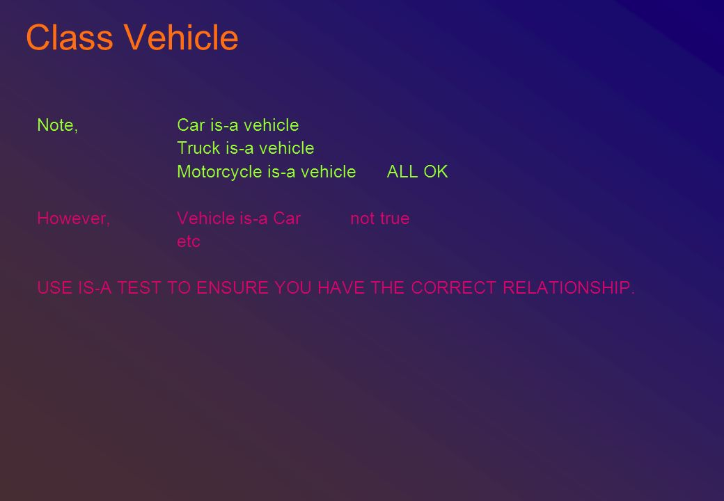 Class Vehicle Note, Car is-a vehicle Truck is-a vehicle