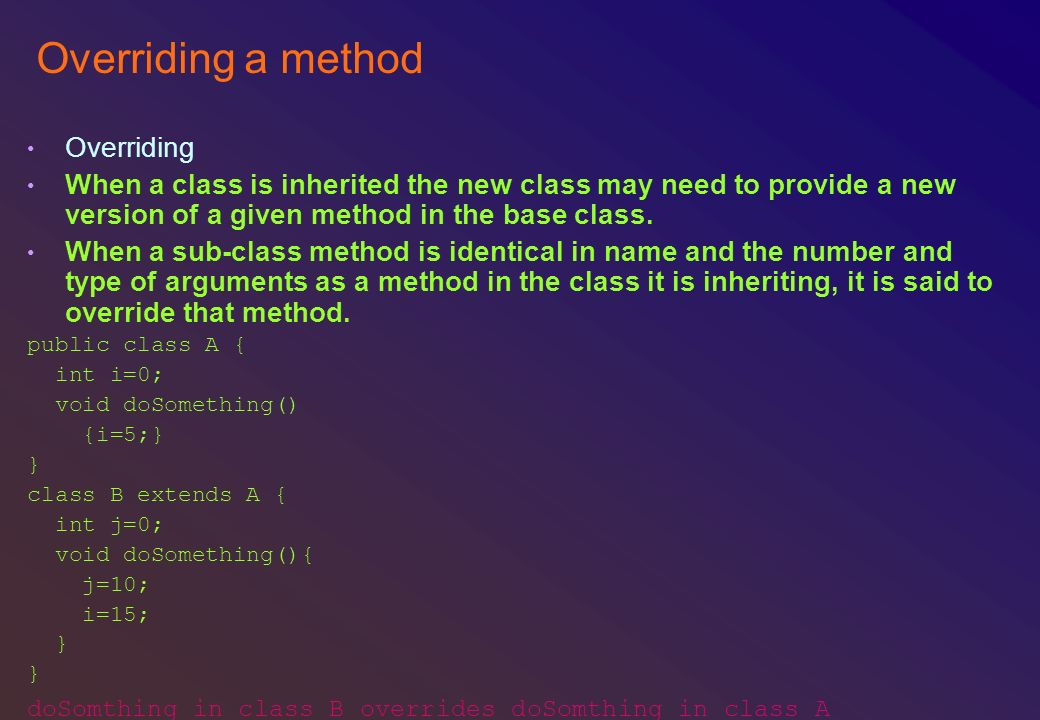 Overriding a method Overriding