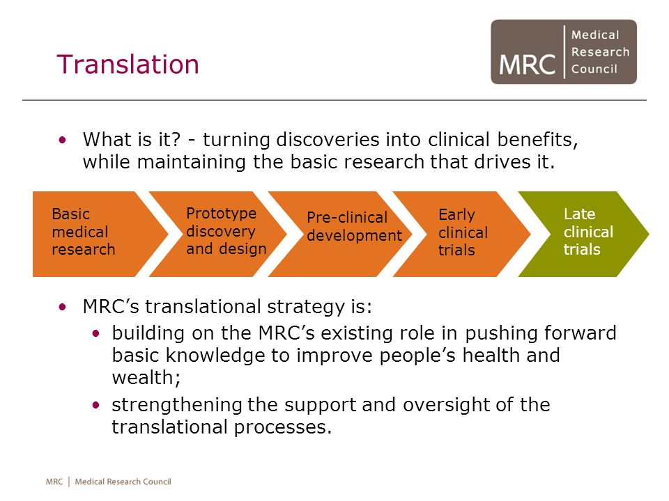Translation What is it - turning discoveries into clinical benefits, while maintaining the basic research that drives it.