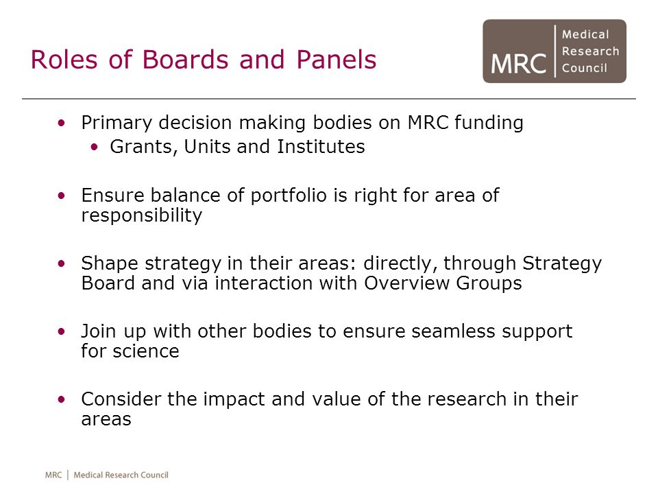 Roles of Boards and Panels