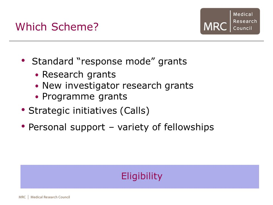 Which Scheme Standard response mode grants Research grants