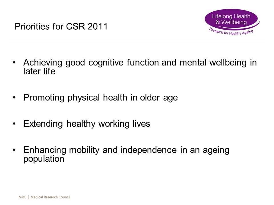 Achieving good cognitive function and mental wellbeing in later life