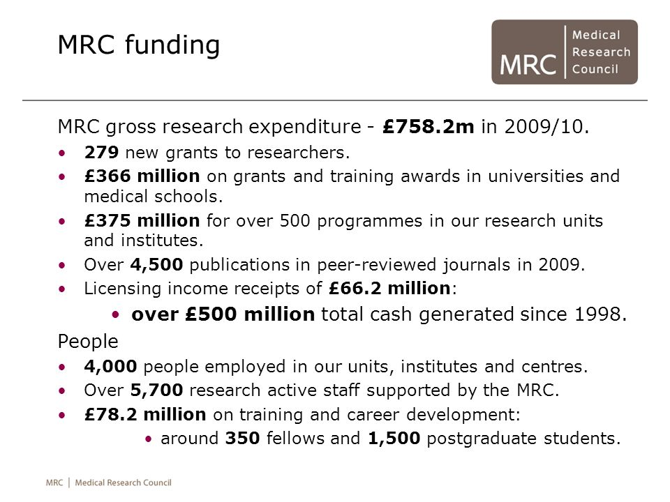 MRC funding MRC gross research expenditure - £758.2m in 2009/10.