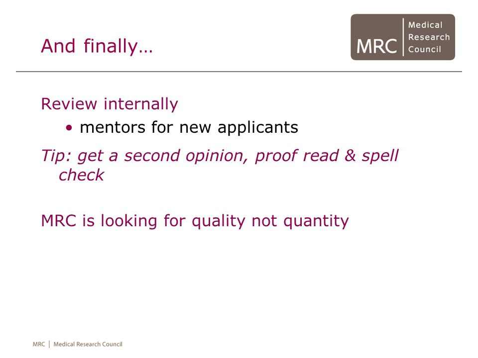 And finally… Review internally mentors for new applicants