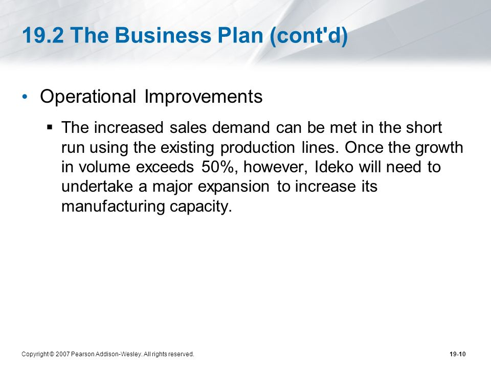 19.2 The Business Plan (cont d)