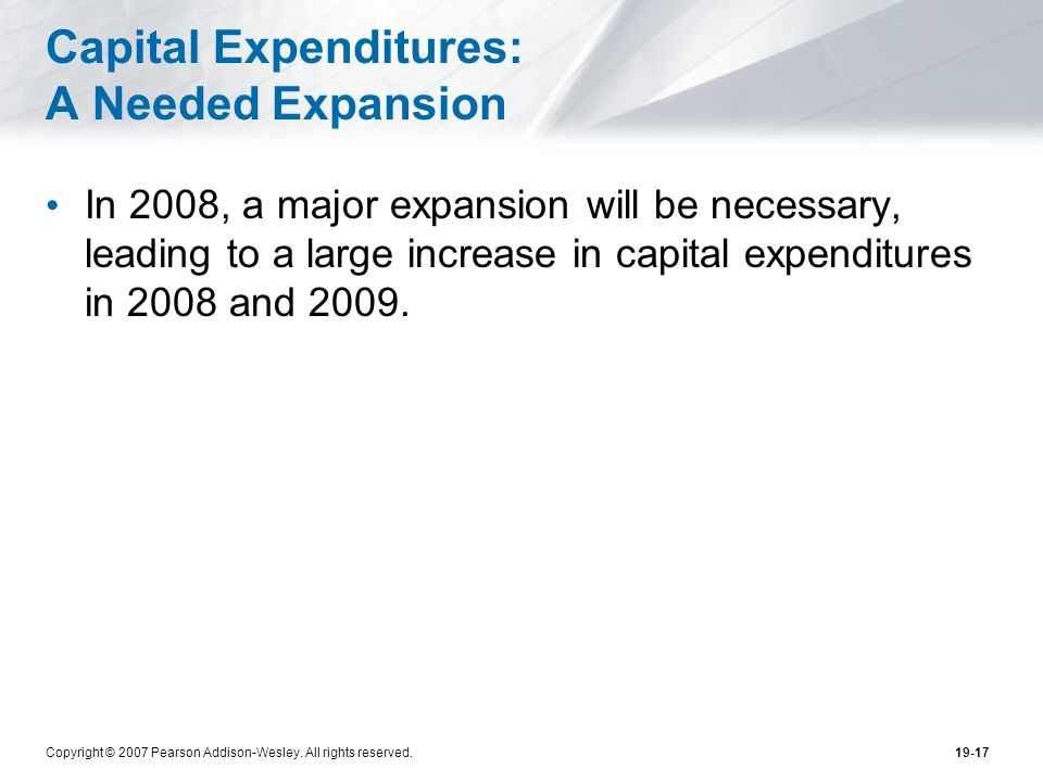 Capital Expenditures: A Needed Expansion