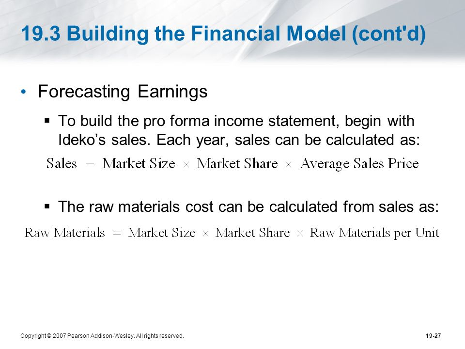 19.3 Building the Financial Model (cont d)