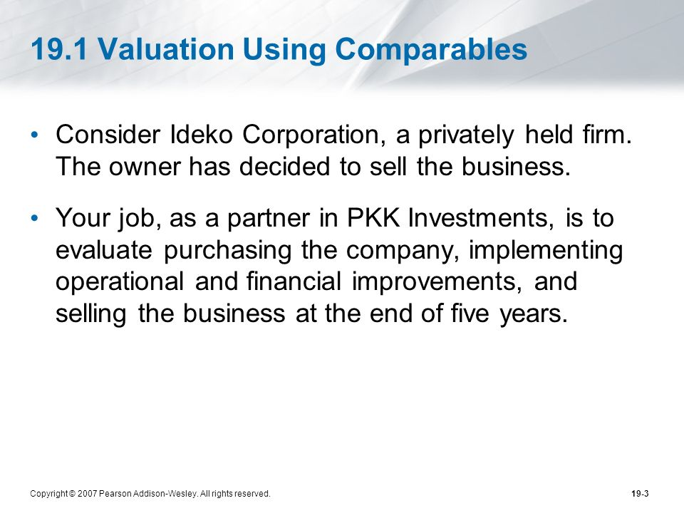 19.1 Valuation Using Comparables