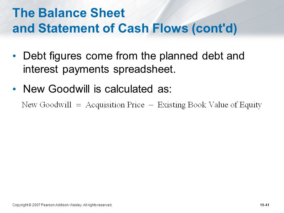 The Balance Sheet and Statement of Cash Flows (cont d)
