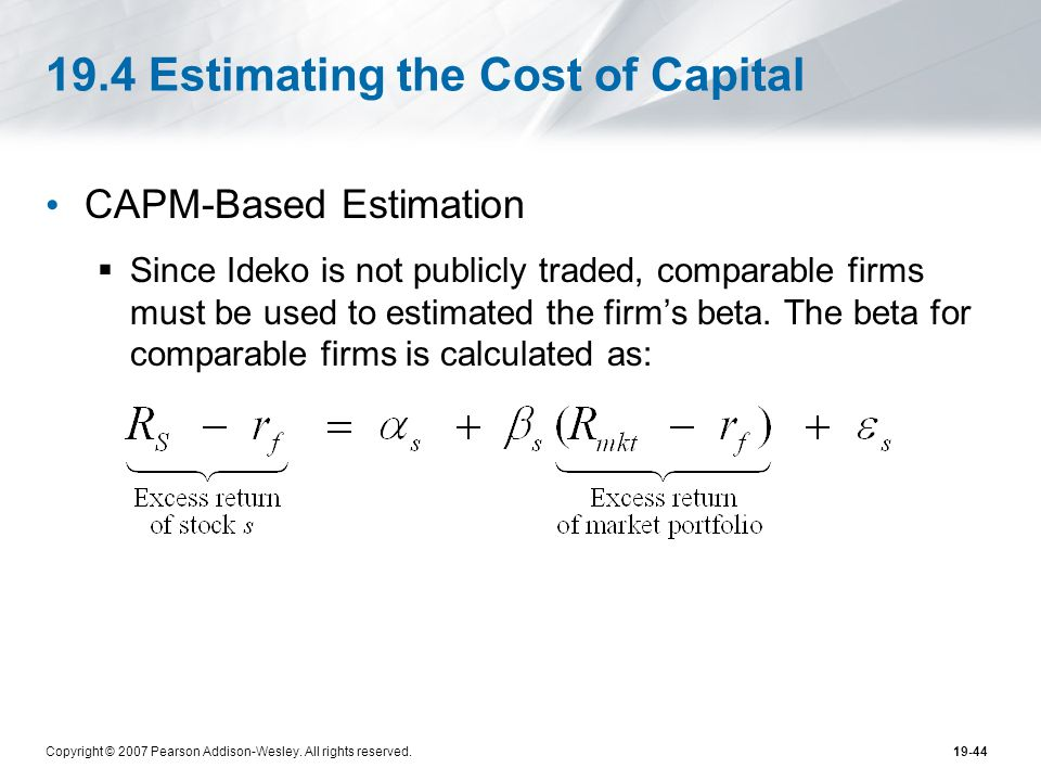 19.4 Estimating the Cost of Capital