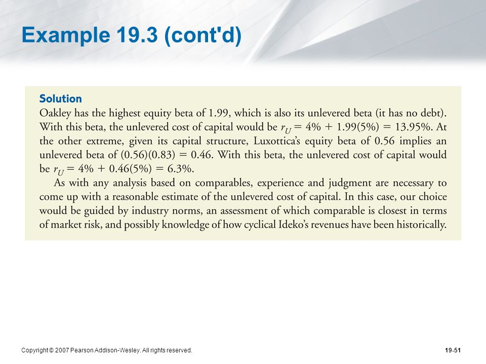 Example 19.3 (cont d) Copyright © 2007 Pearson Addison-Wesley. All rights reserved.