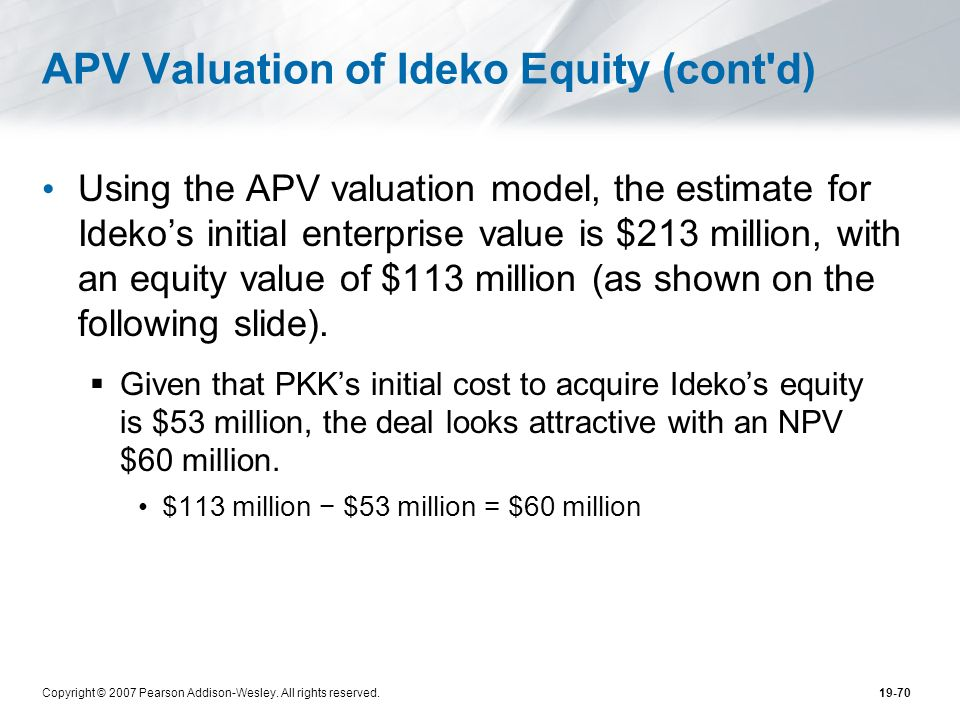 APV Valuation of Ideko Equity (cont d)