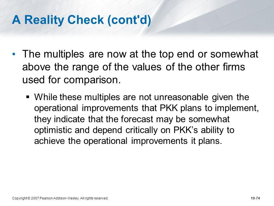 A Reality Check (cont d)
