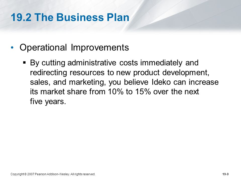19.2 The Business Plan Operational Improvements