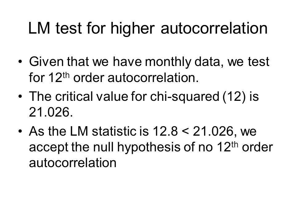 LM test for higher autocorrelation