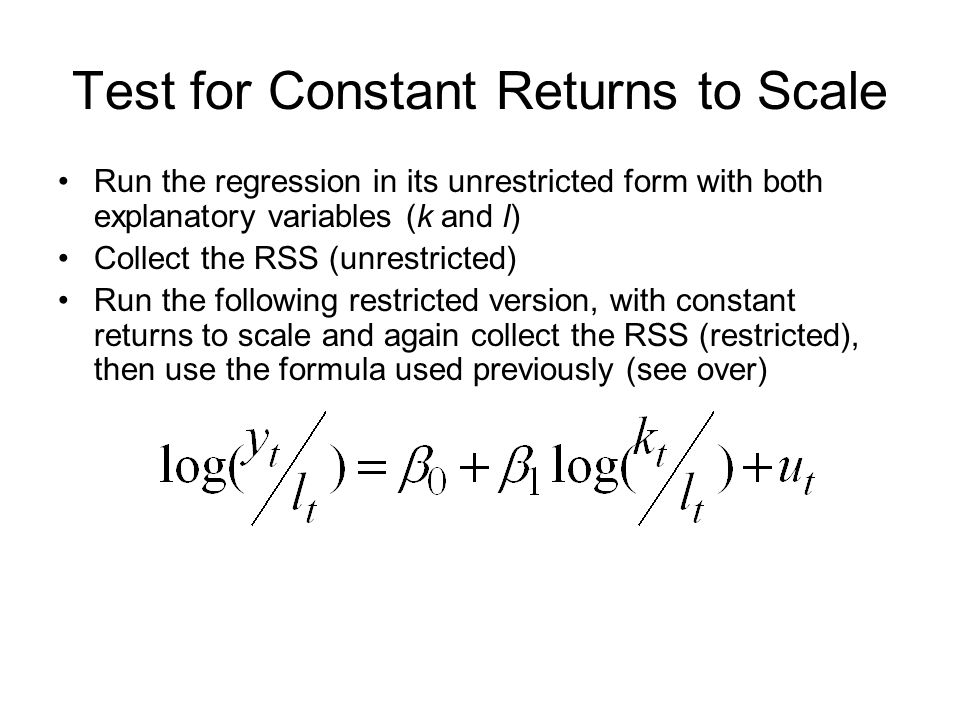 Test for Constant Returns to Scale