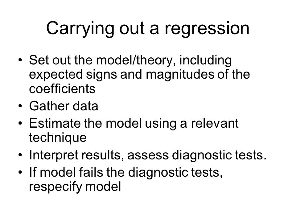 Carrying out a regression