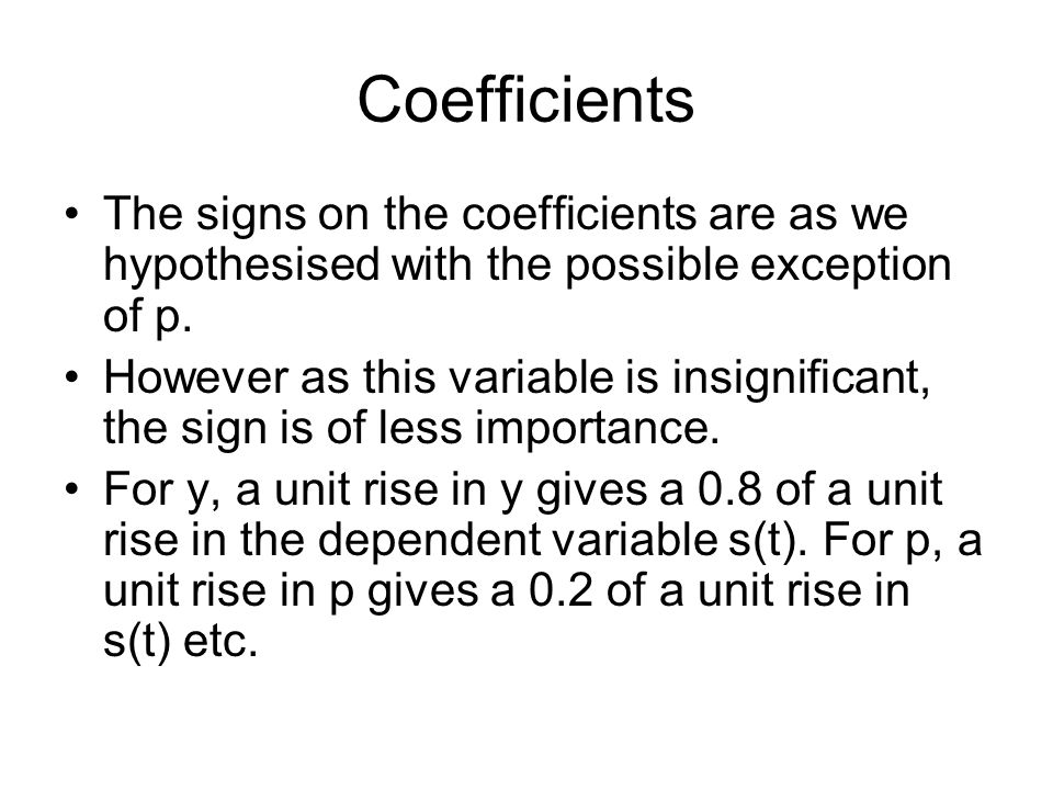 Coefficients The signs on the coefficients are as we hypothesised with the possible exception of p.