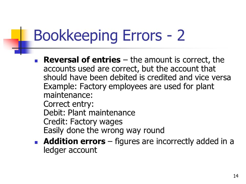Bookkeeping Errors - 2