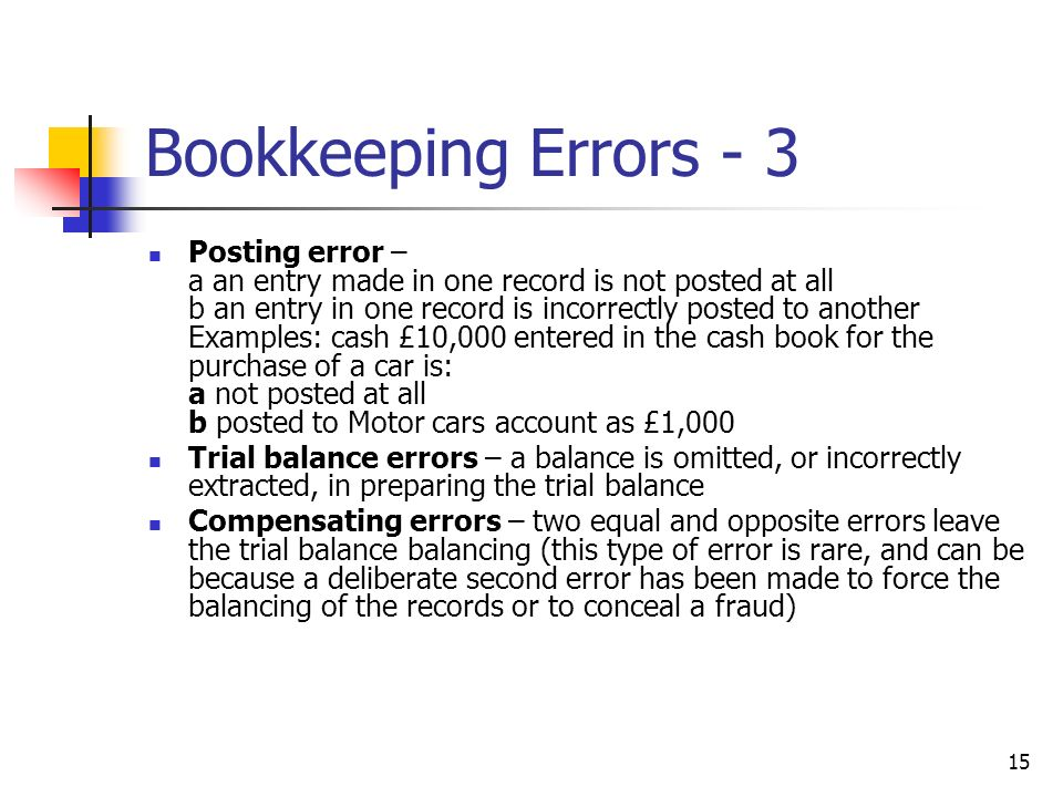 Bookkeeping Errors - 3