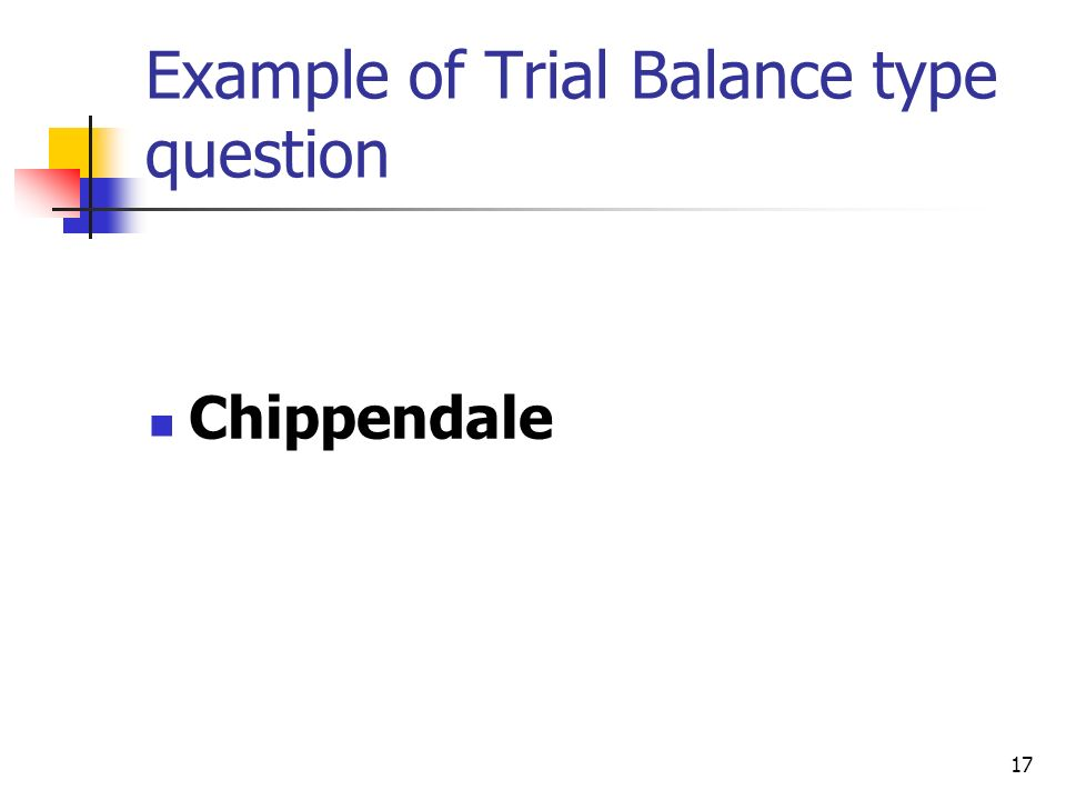 Example of Trial Balance type question