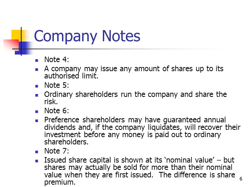 Company Notes Note 4: A company may issue any amount of shares up to its authorised limit. Note 5: