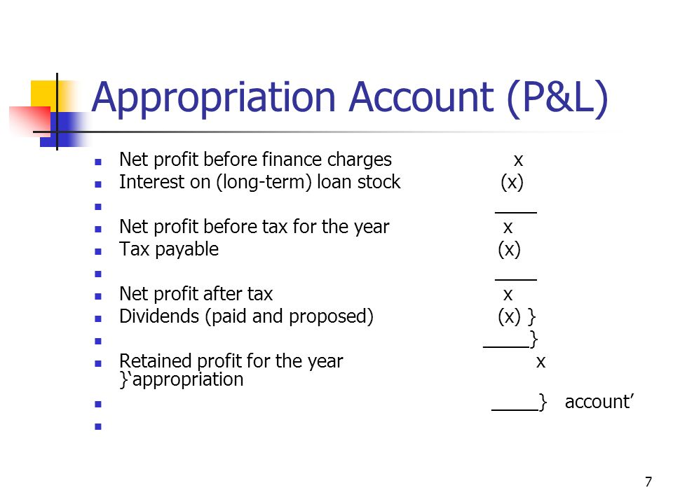 Appropriation Account (P&L)