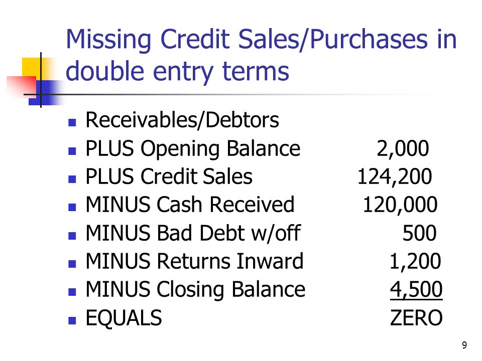 Missing Credit Sales/Purchases in double entry terms