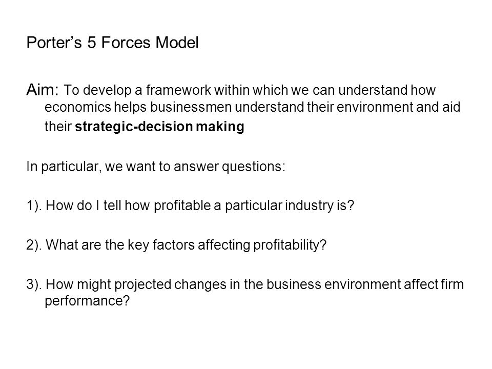 Porter's 5 Forces Model