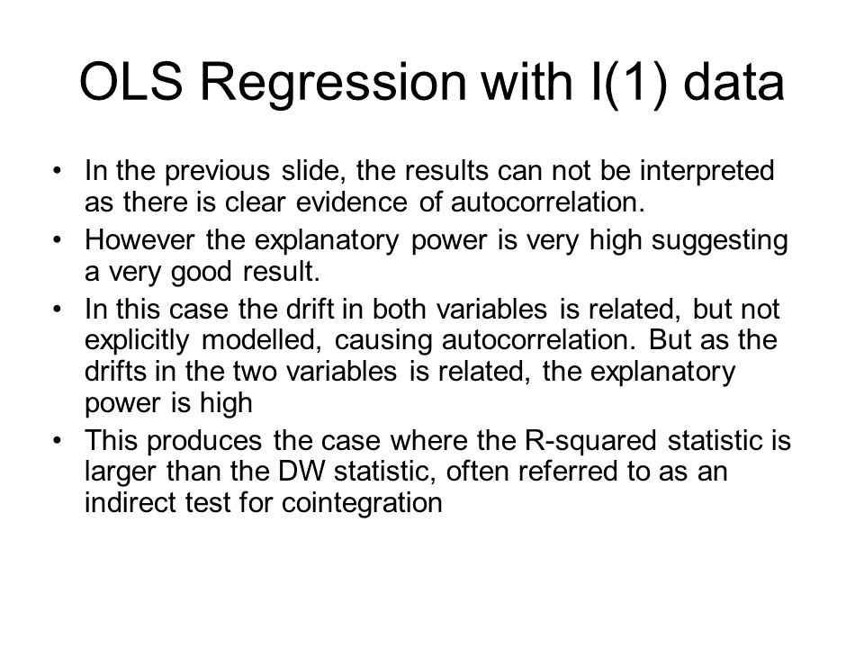 OLS Regression with I(1) data