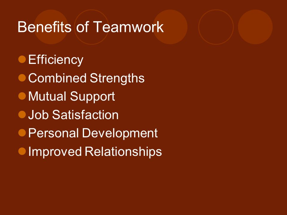 the benefits of teamwork Teamwork is essential in the workplace or at home consider the benefits of teamwork if you are looking to improve productivity in or out of the workplace.