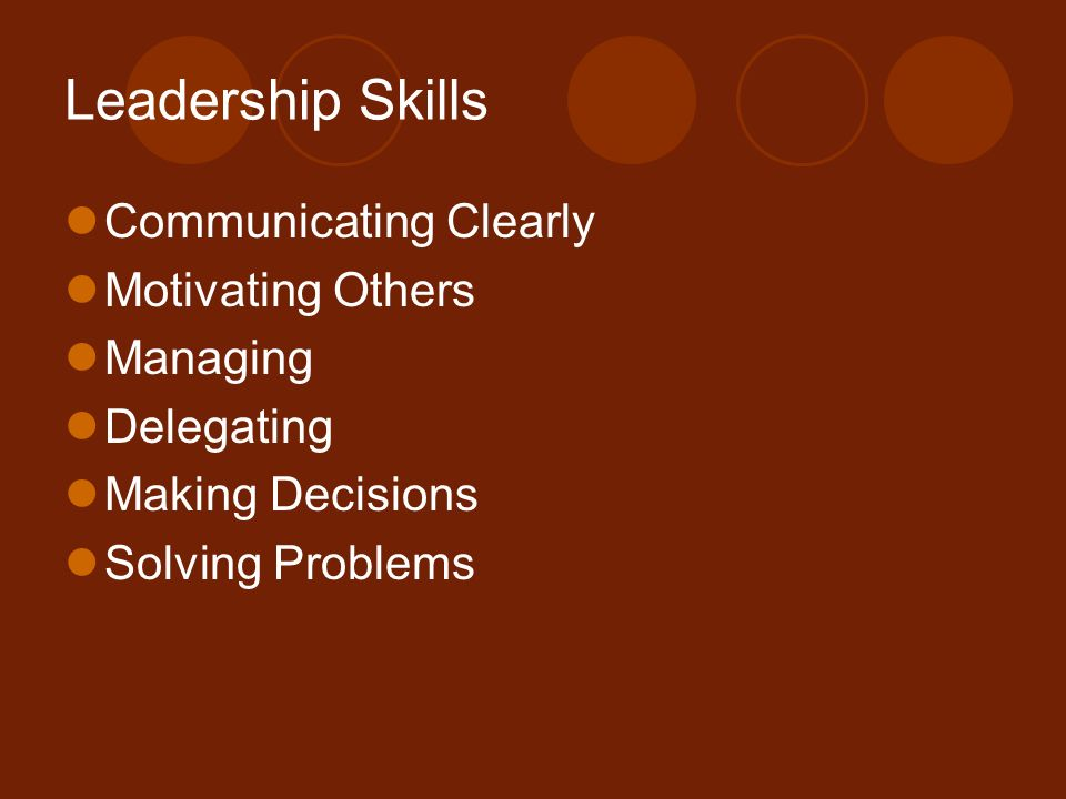 Leadership Skills Communicating Clearly Motivating Others Managing