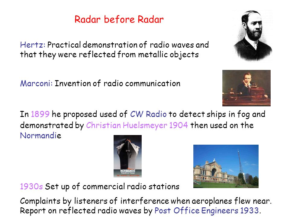 Radar before Radar Hertz: Practical demonstration of radio waves and that they were reflected from metallic objects.