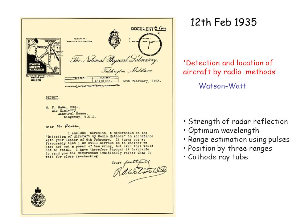 12th Feb 1935 Detection and location of aircraft by radio methods'