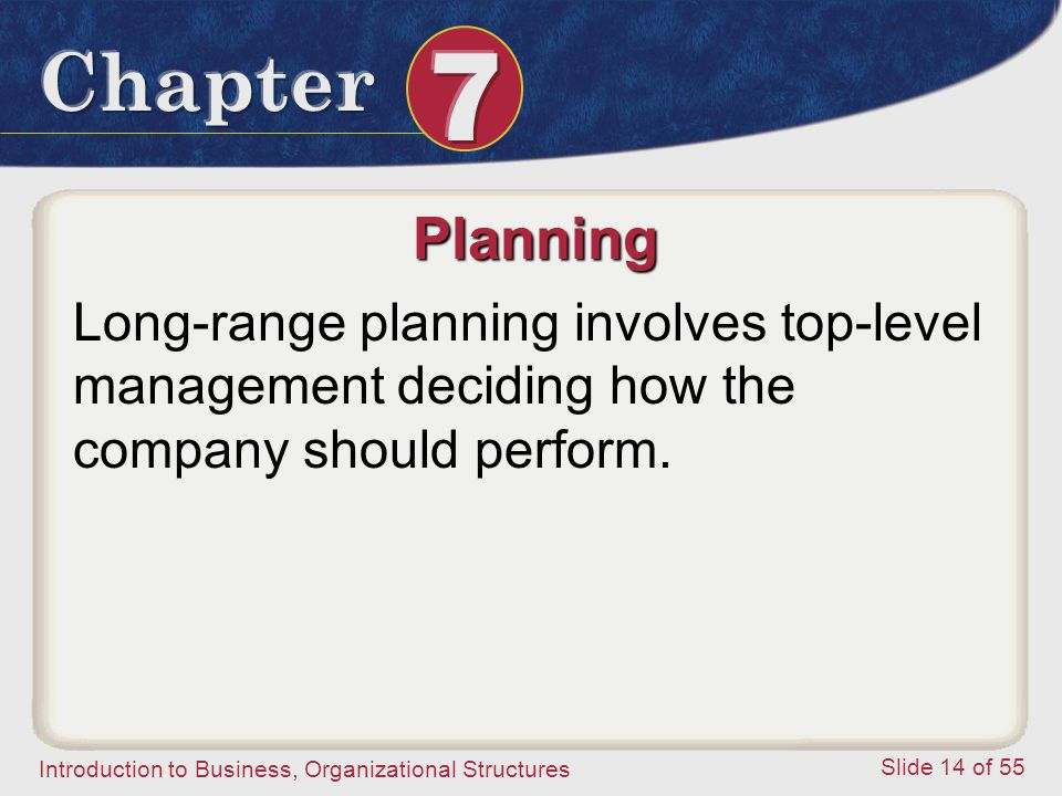 Planning Long-range planning involves top-level management deciding how the company should perform.