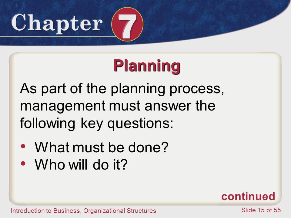 Planning As part of the planning process, management must answer the following key questions: What must be done