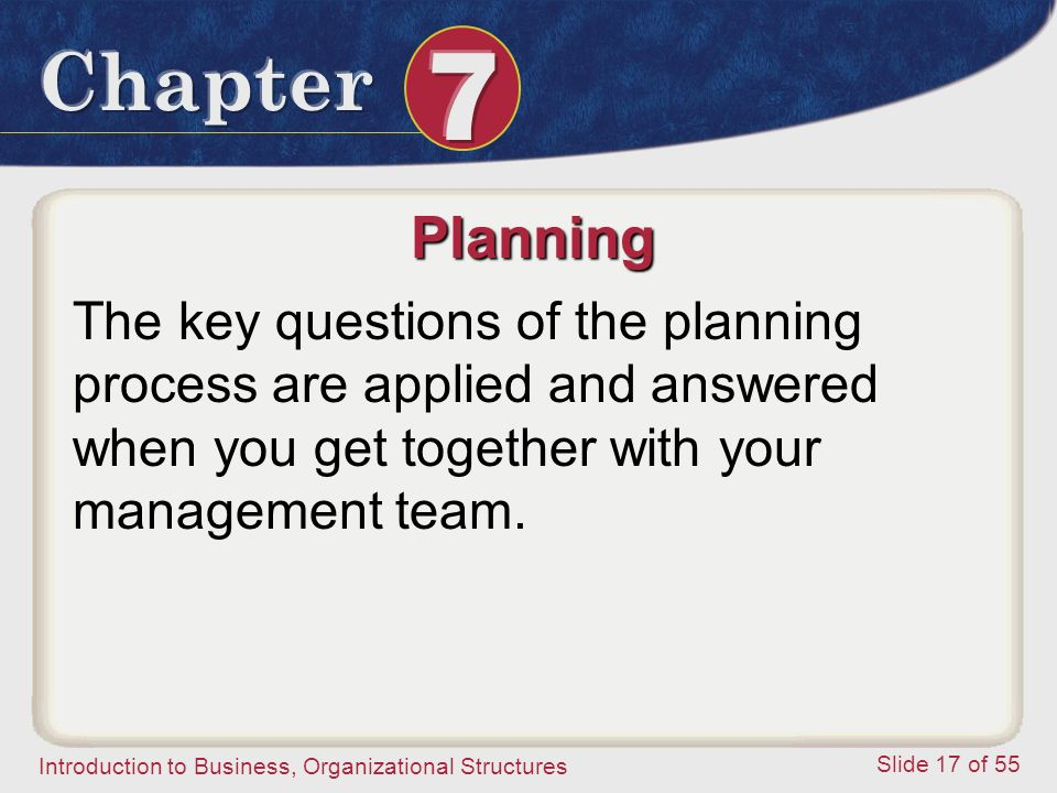 Planning The key questions of the planning process are applied and answered when you get together with your management team.