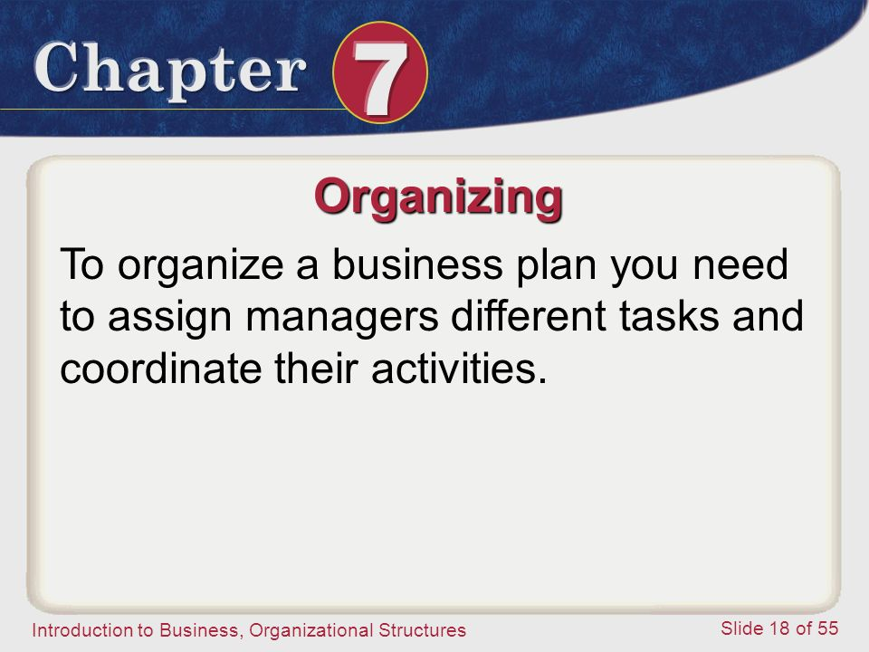 Organizing To organize a business plan you need to assign managers different tasks and coordinate their activities.