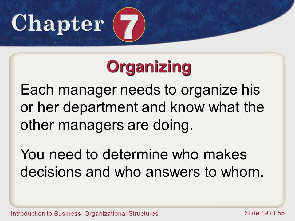 Organizing Each manager needs to organize his or her department and know what the other managers are doing.