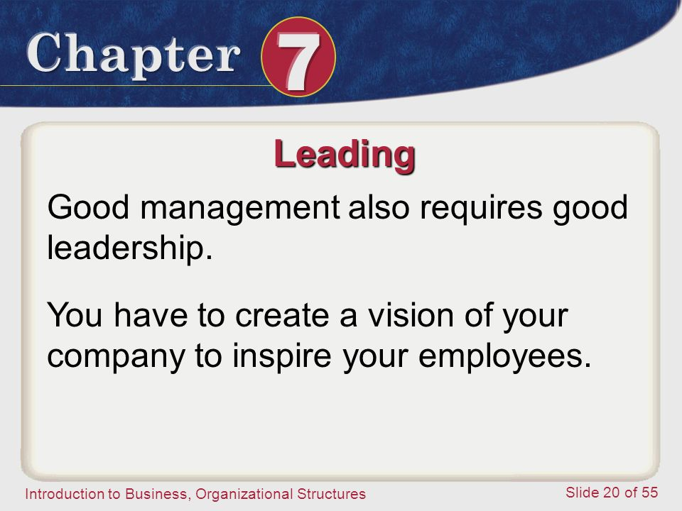Leading Good management also requires good leadership.