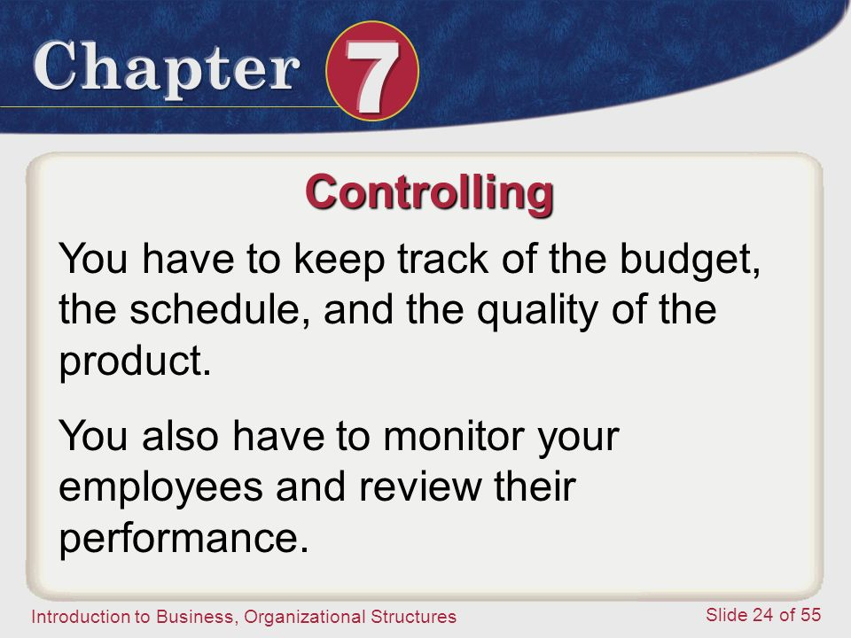 Controlling You have to keep track of the budget, the schedule, and the quality of the product.