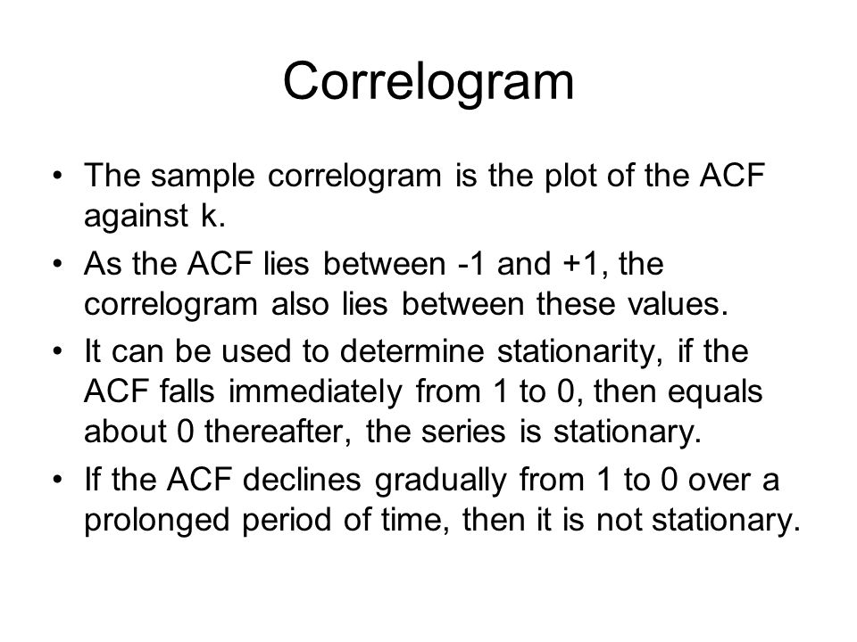 Correlogram The sample correlogram is the plot of the ACF against k.